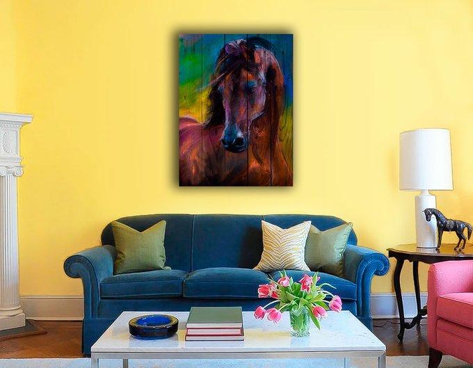 Картина на дереве Лошадь Акварель 90х60