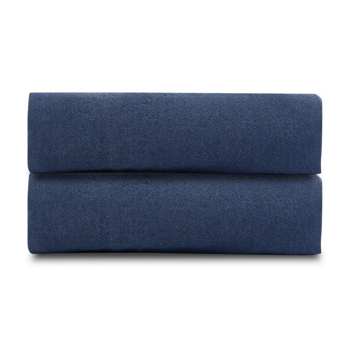 Простыня из стираного льна темно-синего цвета 240х270