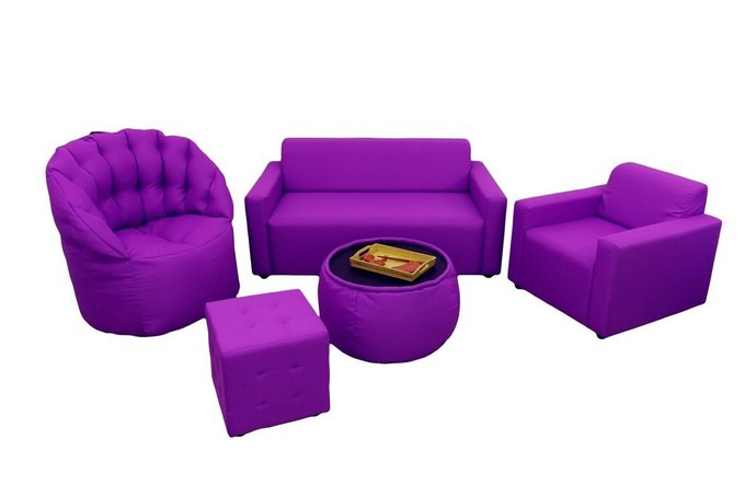 Кресло-пуф сиреневого цвета