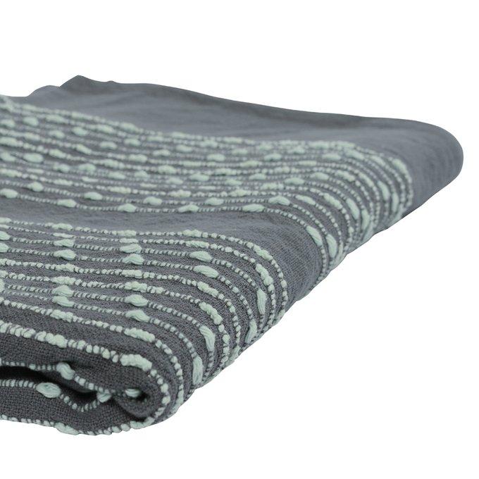 Покрывало Ethnic из хлопка серого цвета с декоративной строчкой 230х250