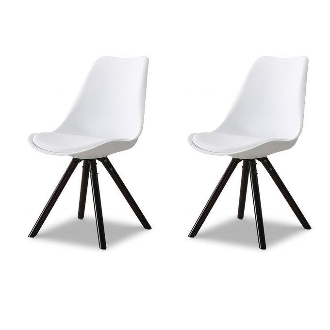 Набор из двух стульев Кейси с деревянными  ножками белый