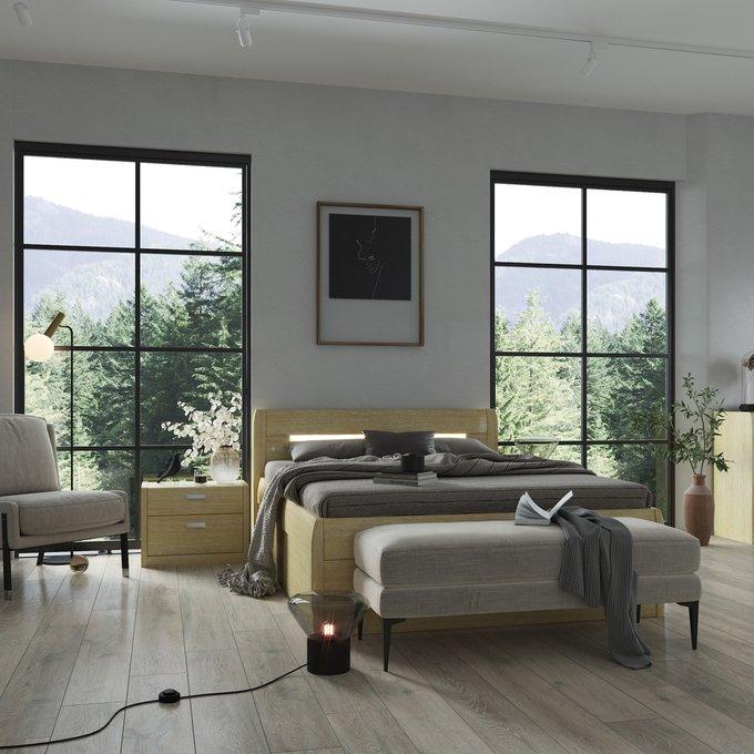 Кровать Илона 180х200 бежевого цвета с подъемным механизмом