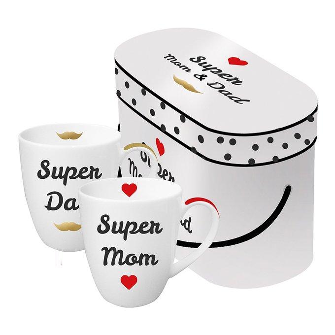 Набор кружек в подарочной упаковке super mom & dad 350 мл с настоящим золотом