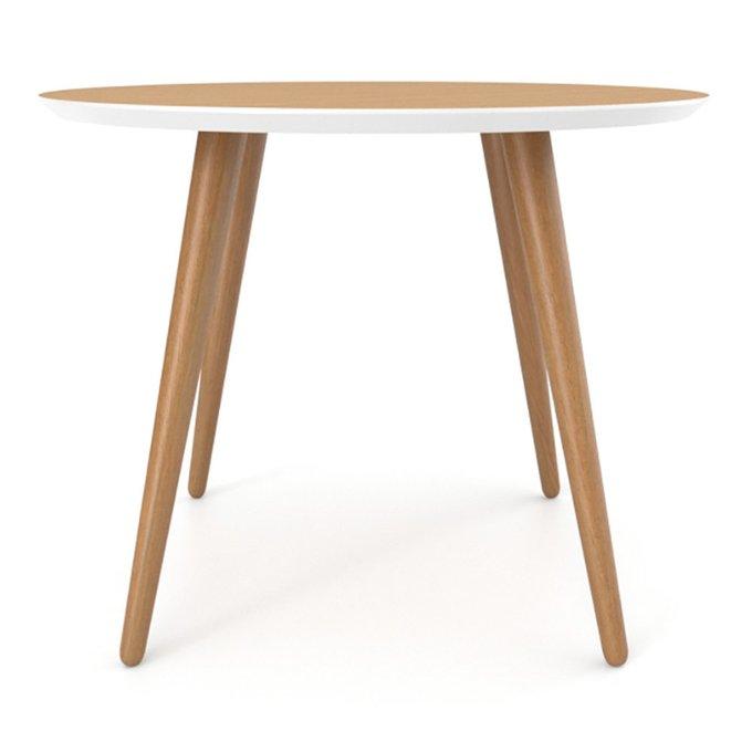 Обеденный стол Ronda Round 120 натуральный дуб с белой окантовкой