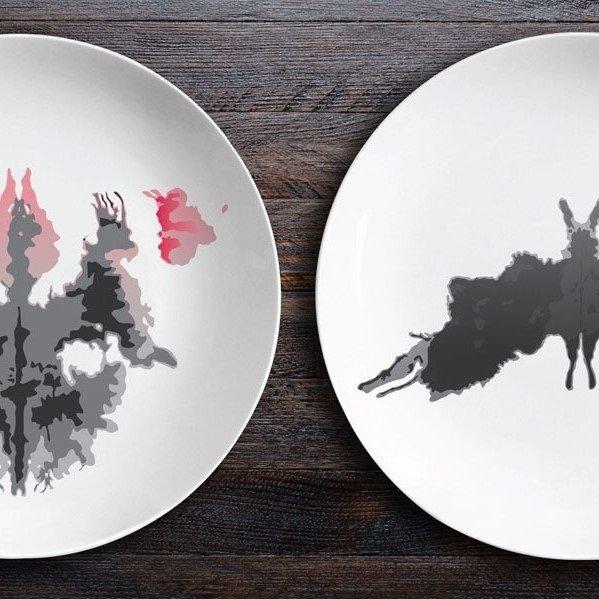 Набор тарелок Ужин с Роршахом Гаргульи Мотылек