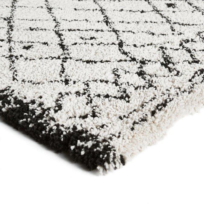 Ковер Afaw в берберском стиле бело-черного цвета 120x170
