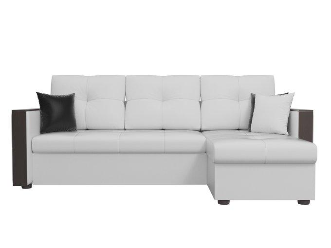 Угловой диван-кровать Валенсия белого цвета (экокожа)