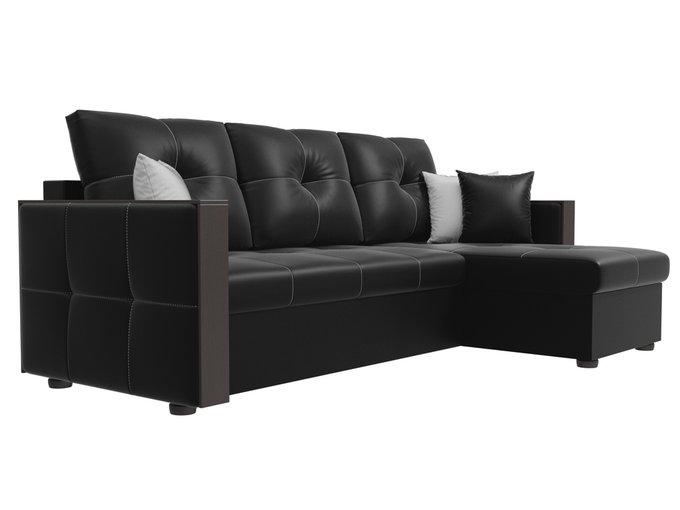 Угловой диван-кровать Валенсия черного цвета (экокожа)