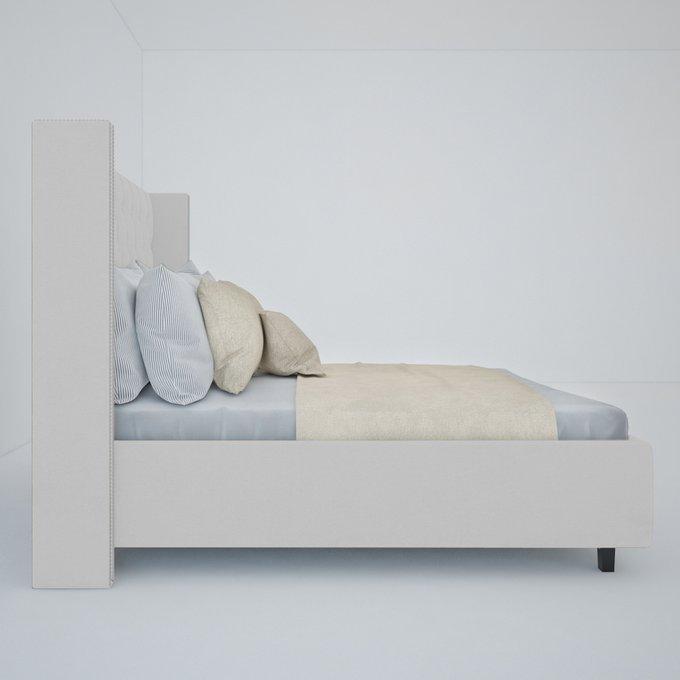 """Кровать """"Wing"""" с декоративными гвоздиками Велюр Молочный 160x200"""