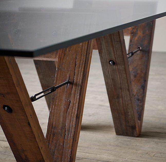 Обеденный стол Wood&Glass со стеклянной столешницей