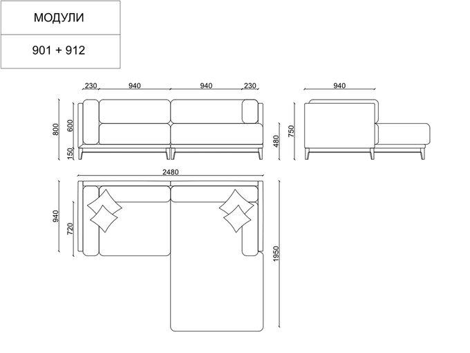 Угловой диван Case серого цвета