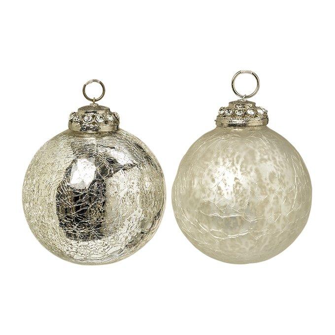 Новогодний шар Crackel серебряного цвета