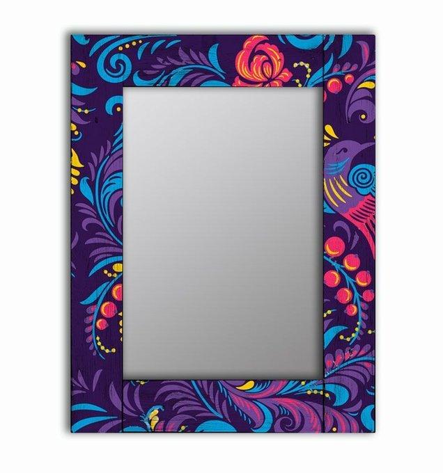 Настенное зеркало Фиолетовая Жар-птица в раме из массива сосны 50х65