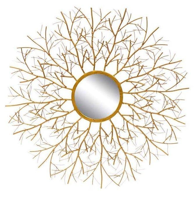 Настенное зеркало Vesta в декоративной раме золотого цвета