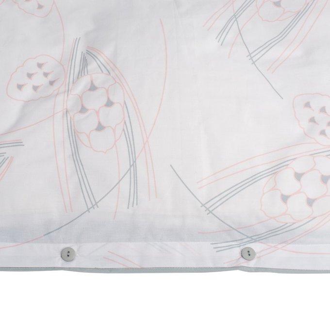 Пододеяльник двухсторонний светло-серого цвета с принтом Хвойное утро 150х200