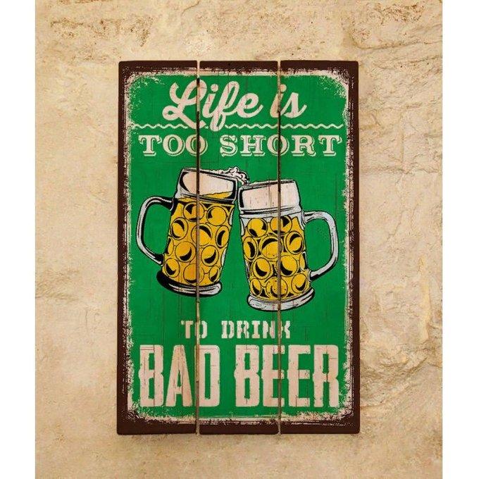 Декоративная табличка из дерева с принтом Beer 30х45