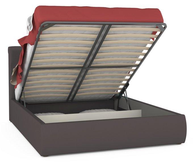 Кровать Тиффани коричневого цвета с подъемным ортопедическим основанием и дном 160х200