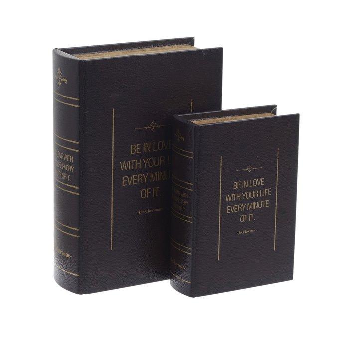 Набор из двух шкатулок-книг из дерева и кожи