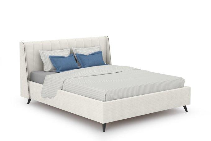 Кровать Мелисса 160х200 без подъемного механизма светло-бежевого цвета