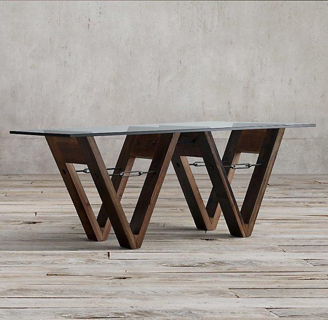 Обеденный стол Wood&Glass из дерева и закаленного стекла