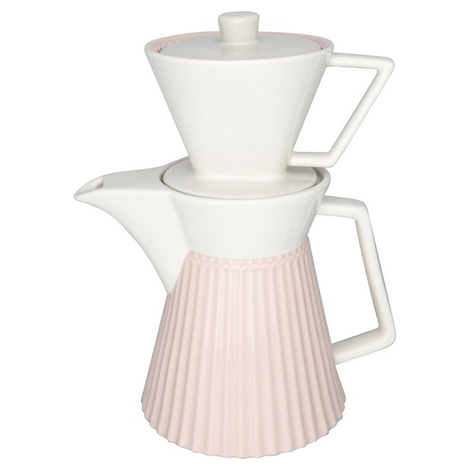 Кофейник Alice pale pink из фарфора