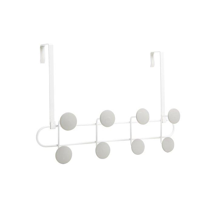 Вешалка надверная на 8 крючков Umbra yook белый/серый