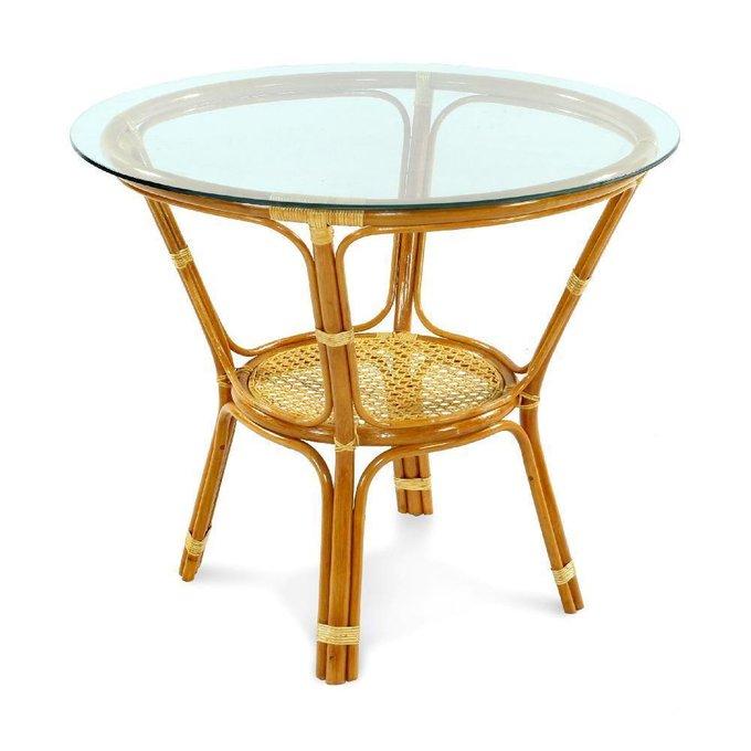Стол обеденный Ellena из натурального ротанга с круглой стеклянной столешницей