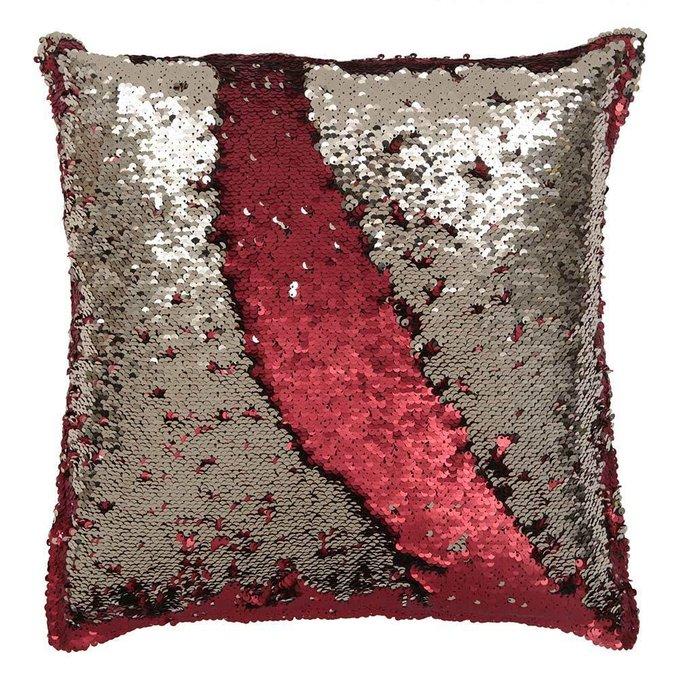 Подушка с пайетками красного цвета