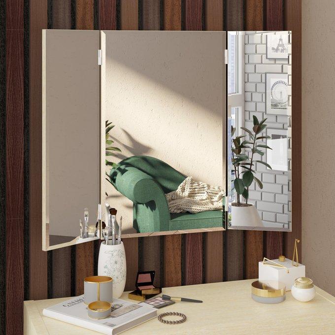 Настенное зеркало-трельяж Илона с основанием бежевого цвета