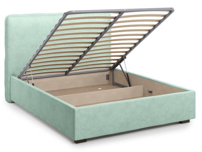 Кровать Brachano 140х200 бирюзового цвета с подъемным механизмом