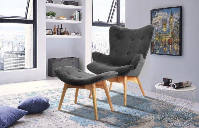 Кресло Phyllis с обивкой из ткани графитового цвета