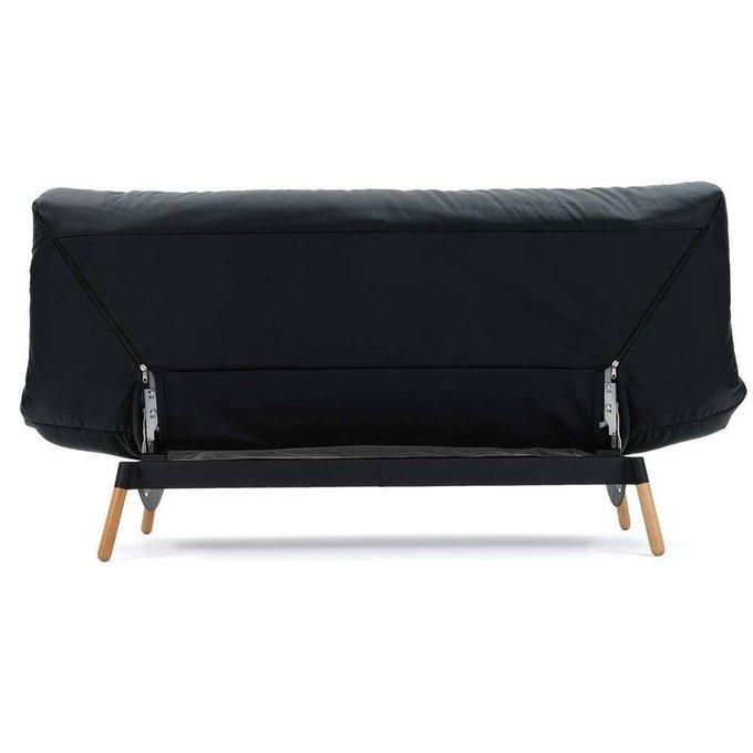 Диван-кровать Артес California из натуральной черной кожи