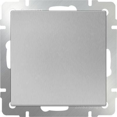 Выключатель одноклавишный серебряного цвета