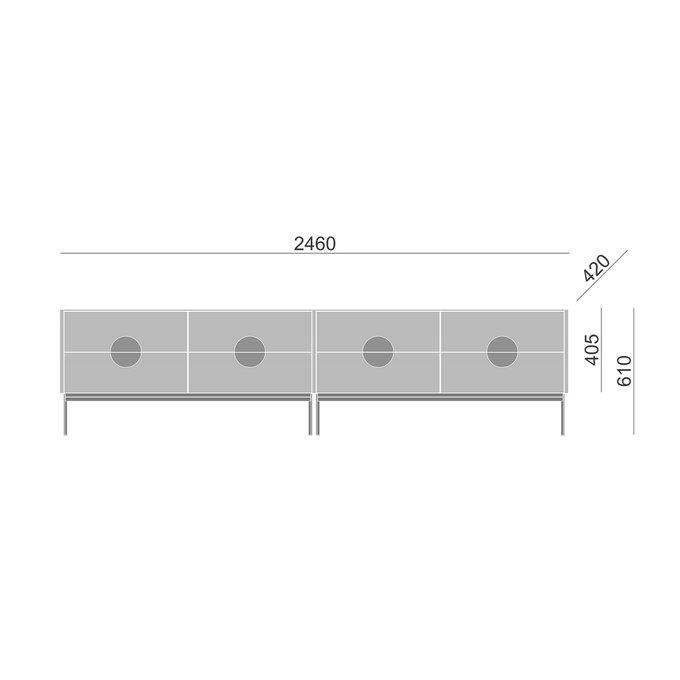 Тумба ТВ Alto с ящиками светло-серого цвета