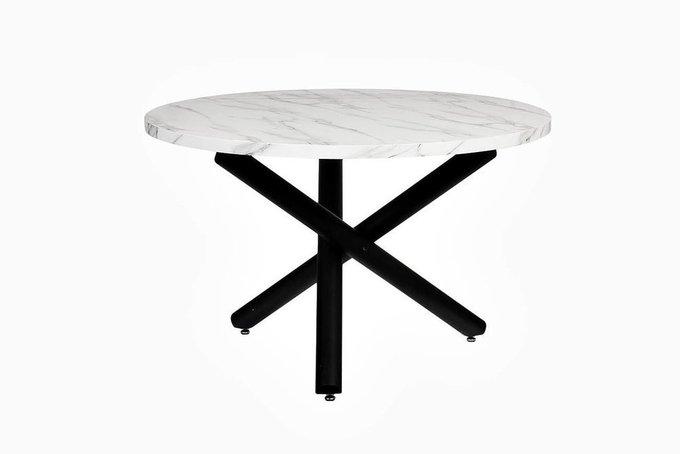 Обеденный круглый стол со столешницей под мрамор