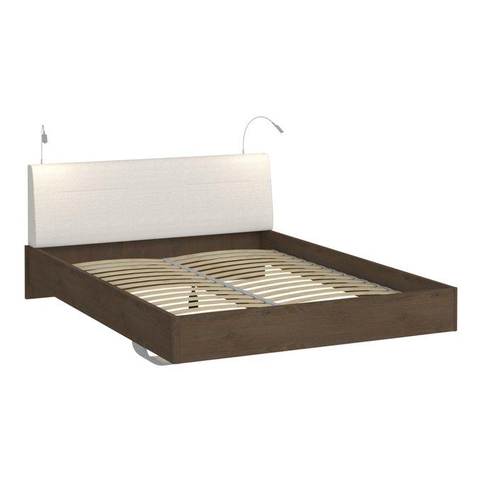 Кровать Сиена 160х200 с белым изголовьем и двумя светильниками