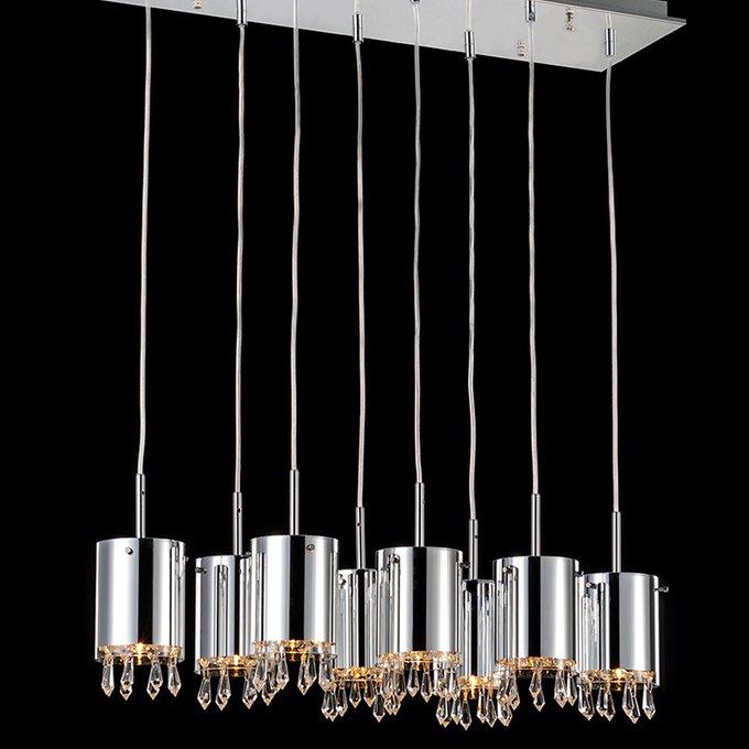 Подвесной светильник Illuminati с плафоном из хромированного металла с прозрачными хрустальными кулонами