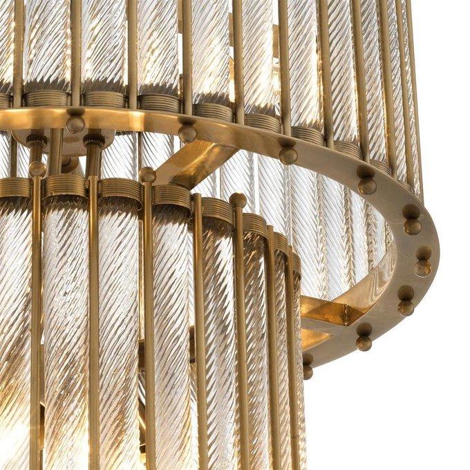 Подвесной светильник Tiziano brass из рифленых стеклянных трубок