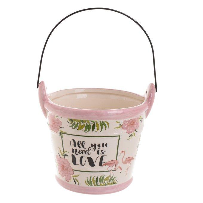 Керамическое кашпо розово-белого цвета