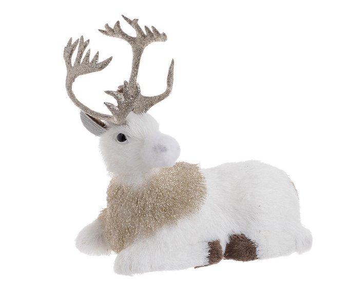 Новогоднее украшение олень белого цвета