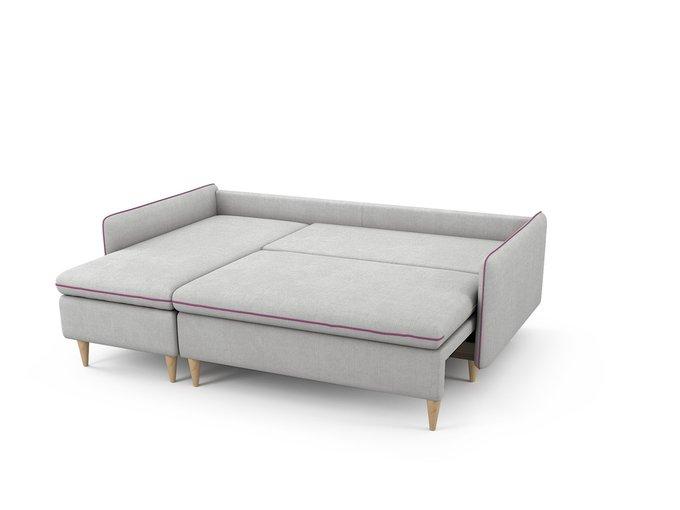 Угловой Диван-кровать Ron левый светло-серого цвета
