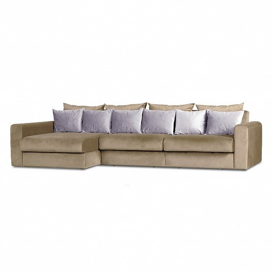 Угловой диван-кровать Мэдисон Лувр темно-бежевого цвета большой