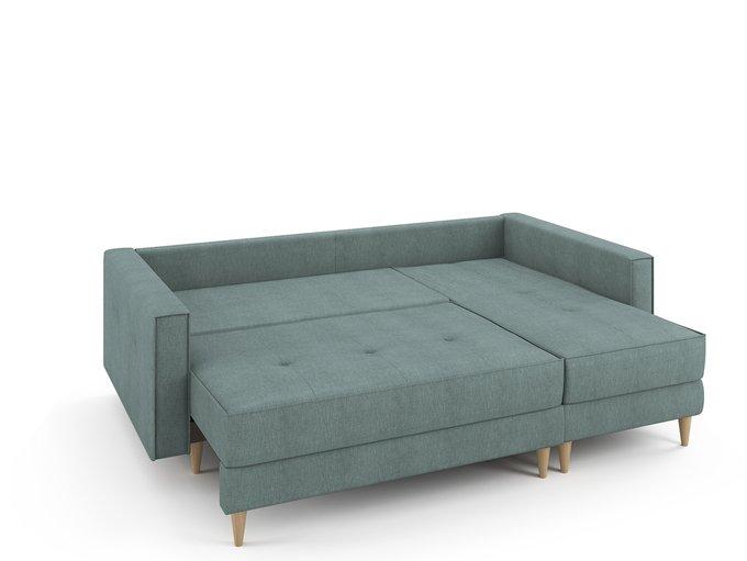 Угловой раскладной диван Отто правый мятного цвета