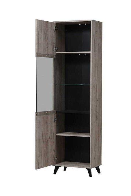 Шкаф-витрина Умбрия из серого дуба с чёрным деревом
