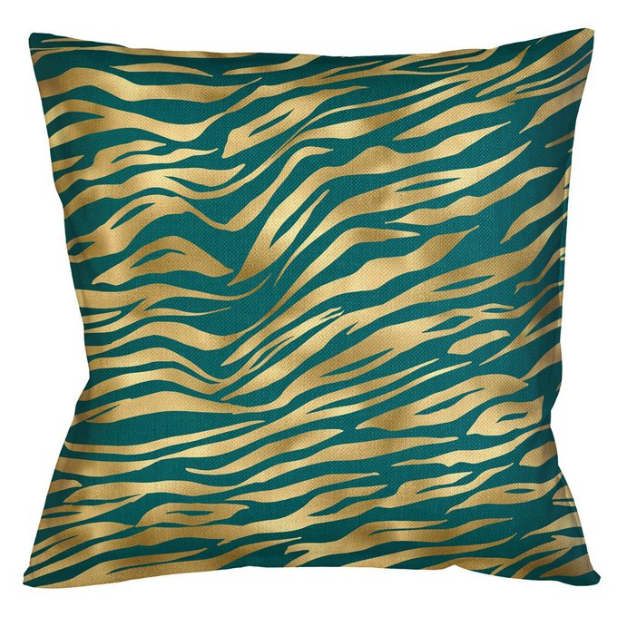 Интерьерная подушка Зебра сине-золотого цвета