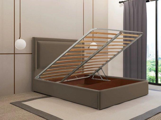 Кровать Юнит 140х200 коричневого цвета с подъемным механизмом