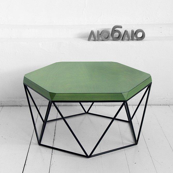 Журнальный стол Гексагон в зеленом цвете