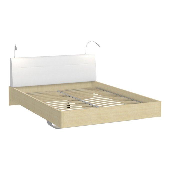 Кровать Элеонора 140х200 с изголовьем белого цвета и двумя светильниками