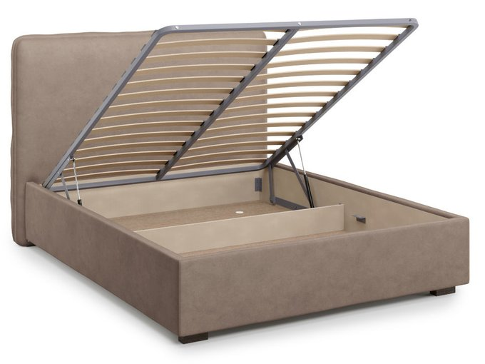 Кровать Brachano 160х200 светло-коричневого цвета с подъемным механизмом