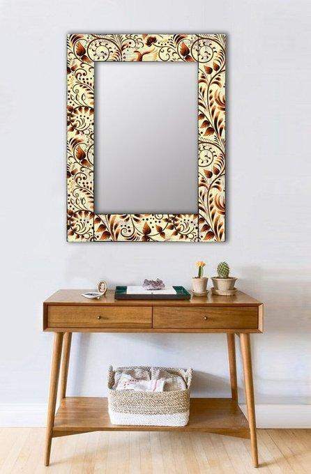 Настенное зеркало Золотая роспись в раме из массива сосны 90х90